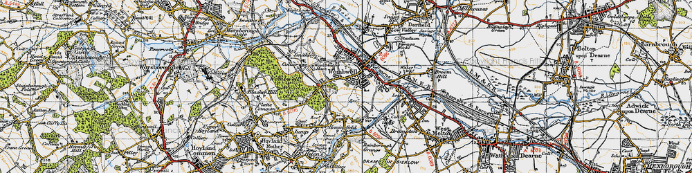 Old map of Wombwell in 1947