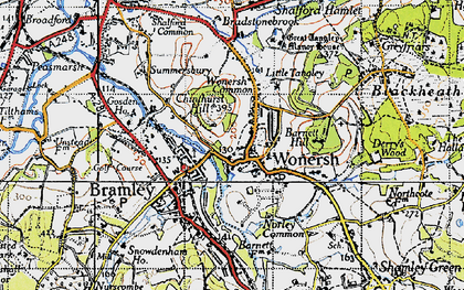 Old map of Wonersh in 1940