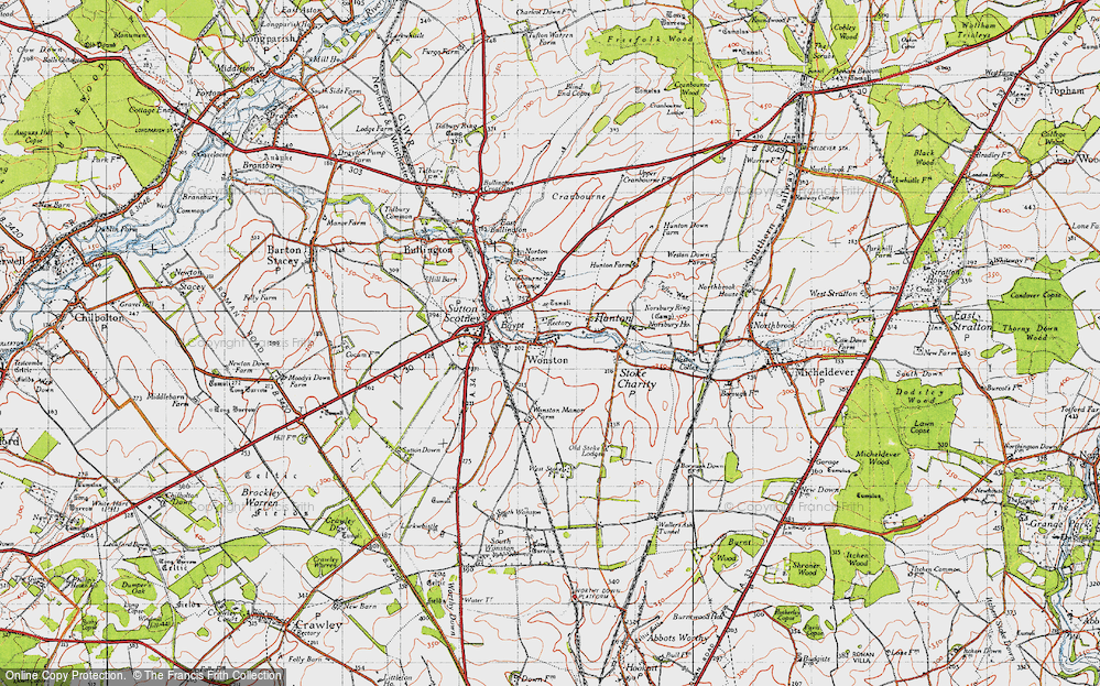 Old Map of Wonston, 1945 in 1945