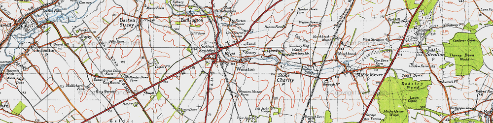 Old map of Wonston in 1945