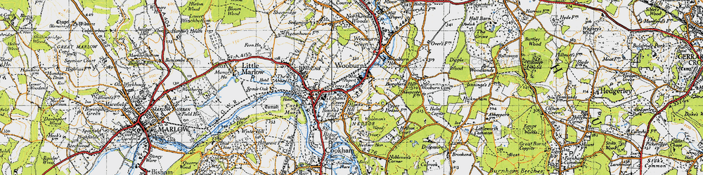 Old map of Wooburn in 1945