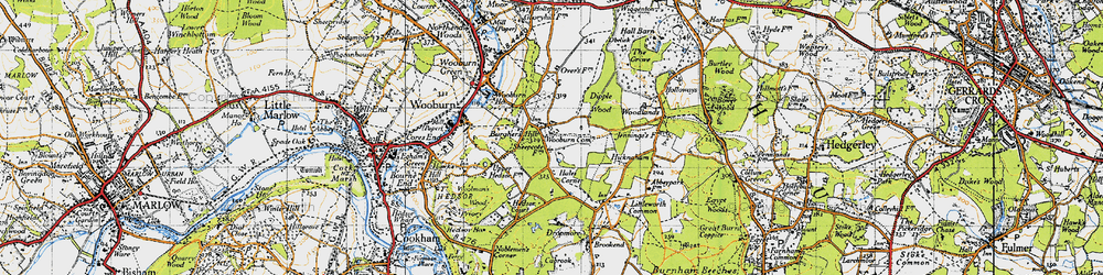 Old map of Wooburn Common in 1945