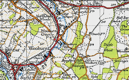 Old map of Wooburn Green in 1945