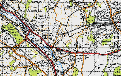 Old map of Wooburn Moor in 1945