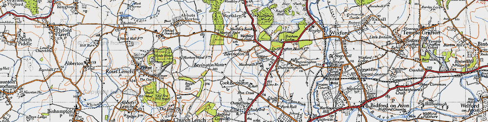 Old map of Wood Bevington in 1946