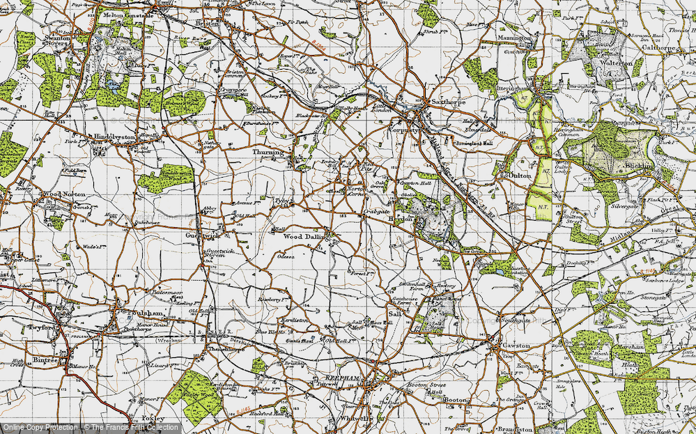 Old Map of Wood Dalling, 1945 in 1945