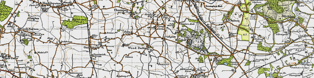 Old map of Wood Dalling in 1945