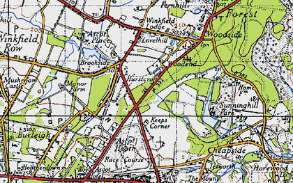 Old map of Ascot Heath in 1940