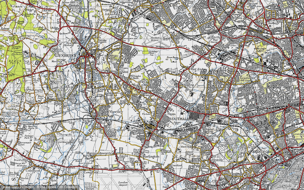 Old Map of Historic Map covering Wood End in 1945