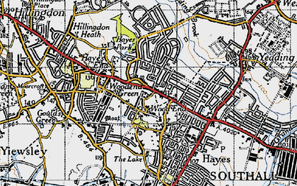 Old map of Wood End Green in 1945