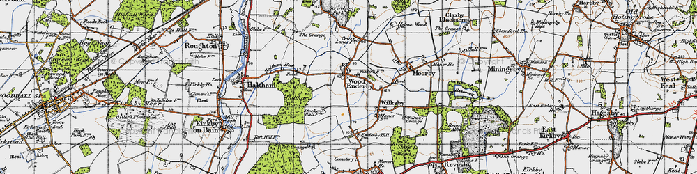 Old map of Wood Enderby in 1946