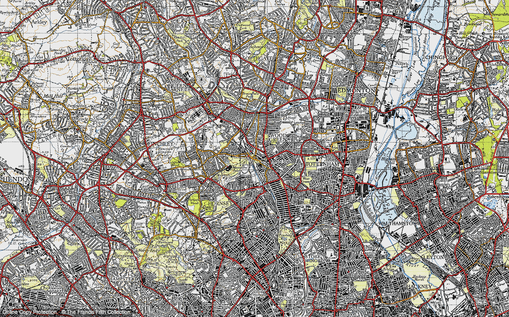 Old Map of Wood Green, 1945 in 1945