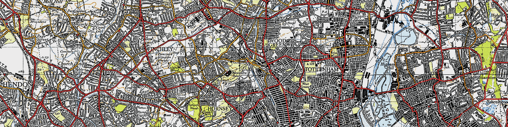 Old map of Wood Green in 1945