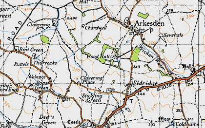 Old map of Wood Hall in 1946