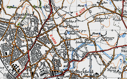 Old map of Wood Hayes in 1946