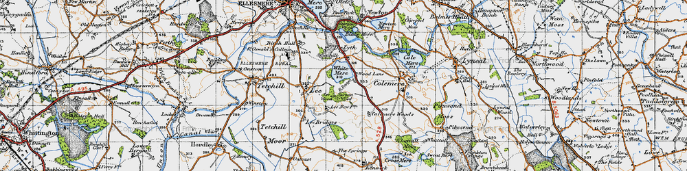Old map of Yarnest Wood in 1947