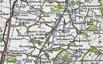 Old map of Wood Lanes in 1947