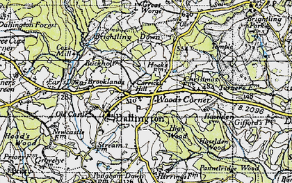 Old map of Wood's Corner in 1940