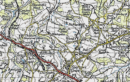 Old map of Wood's Green in 1940