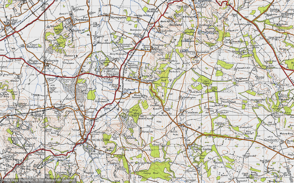 Old Map of Wood Stanway, 1946 in 1946