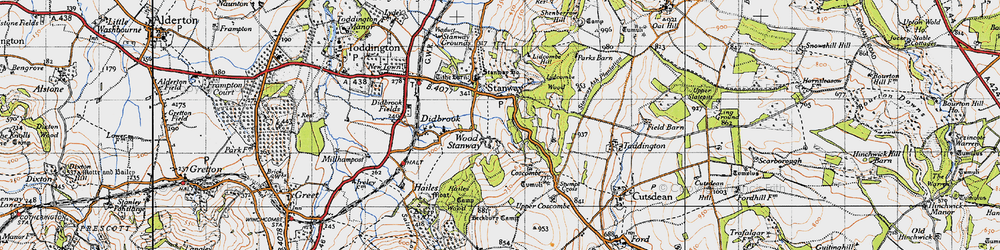 Old map of Wood Stanway in 1946