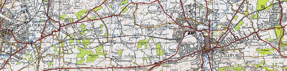Old map of Wood Street Village in 1940