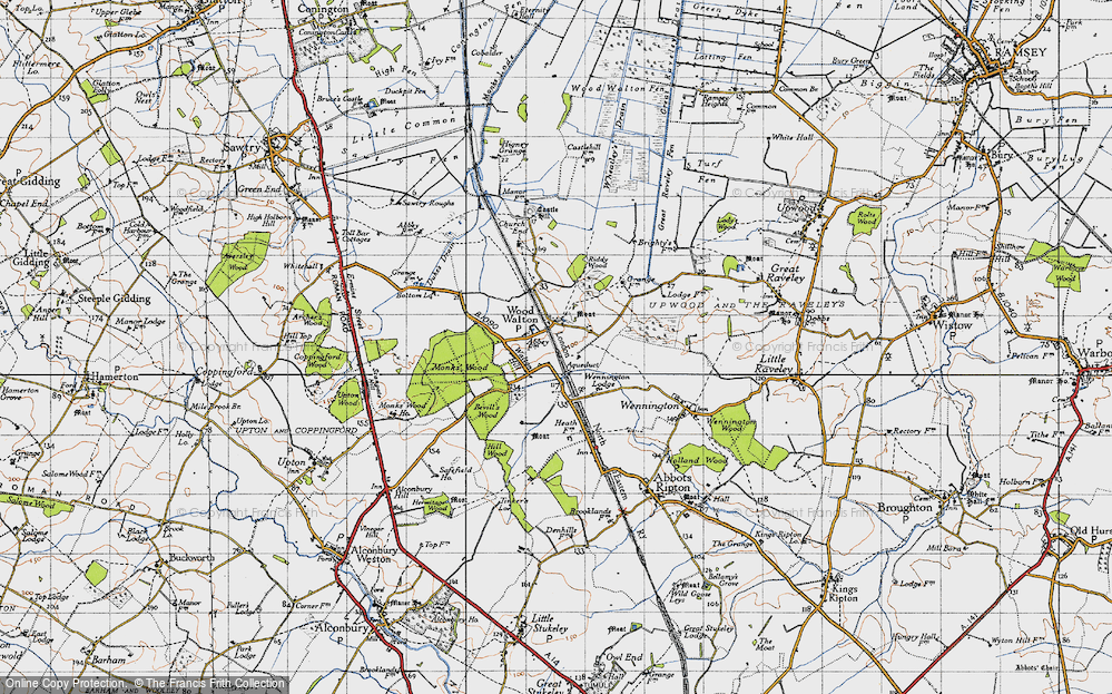Old Map of Wood Walton, 1946 in 1946