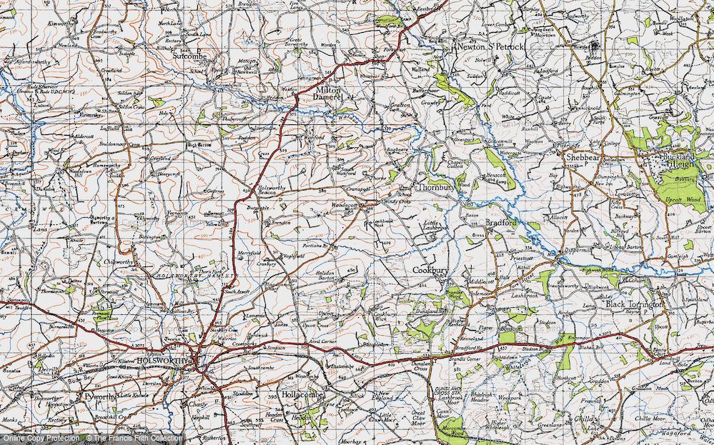Old Map of Woodacott, 1946 in 1946