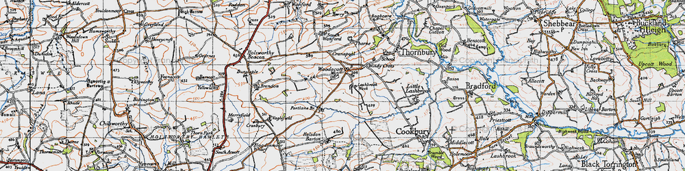 Old map of Windy Cross in 1946
