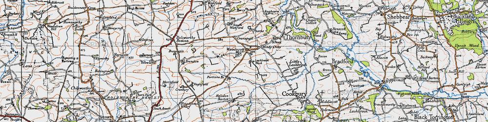 Old map of Woodacott Cross in 1946