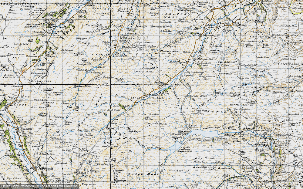 Old Map of Historic Map covering Woodale Moor in 1947