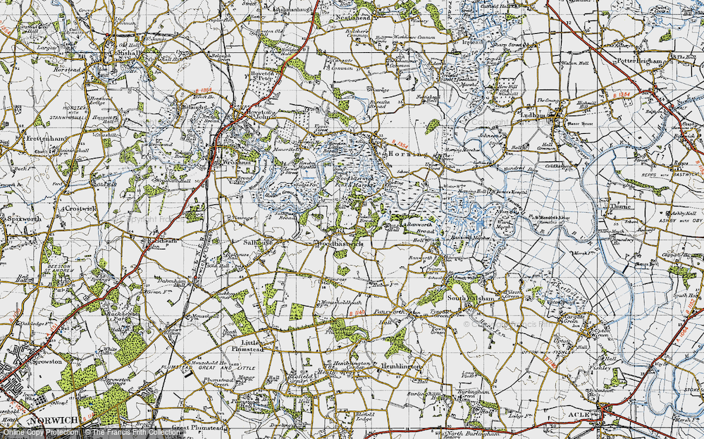 Old Map of Woodbastwick, 1945 in 1945