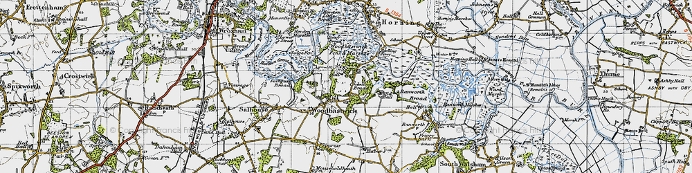 Old map of Woodbastwick Fens & Marshes in 1945