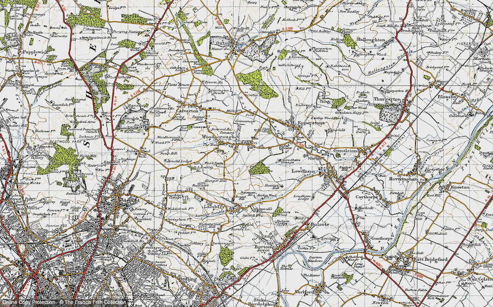 Old Map of Historic Map covering Woodborough Park in 1946
