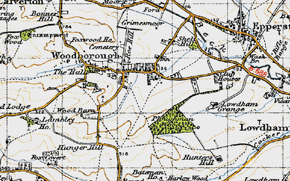 Old map of Woodborough in 1946
