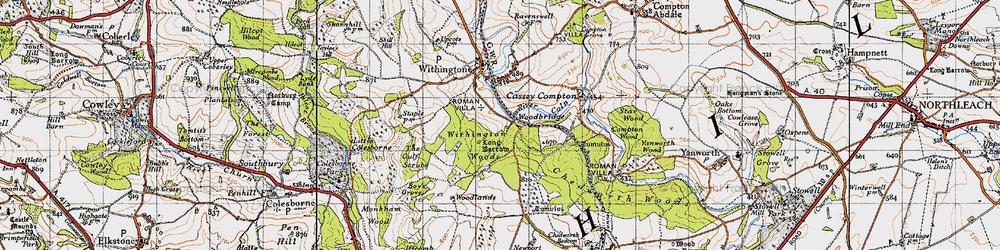 Old map of Woodbridge in 1946