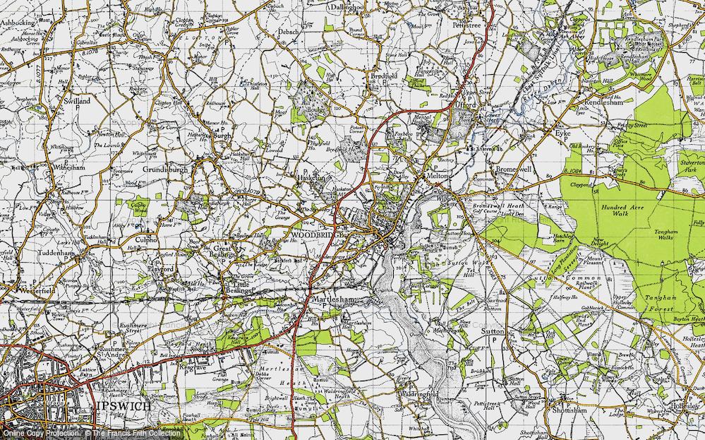 Old Map of Woodbridge, 1946 in 1946