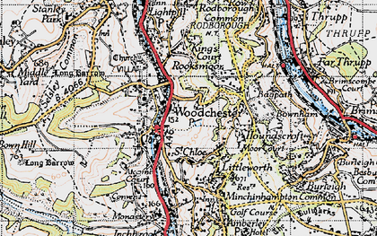 Old map of Woodchester in 1946