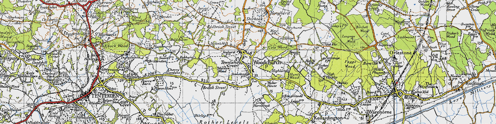 Old map of Woodchurch in 1940