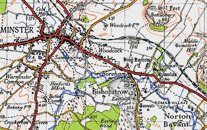 Old map of Woodcock in 1946