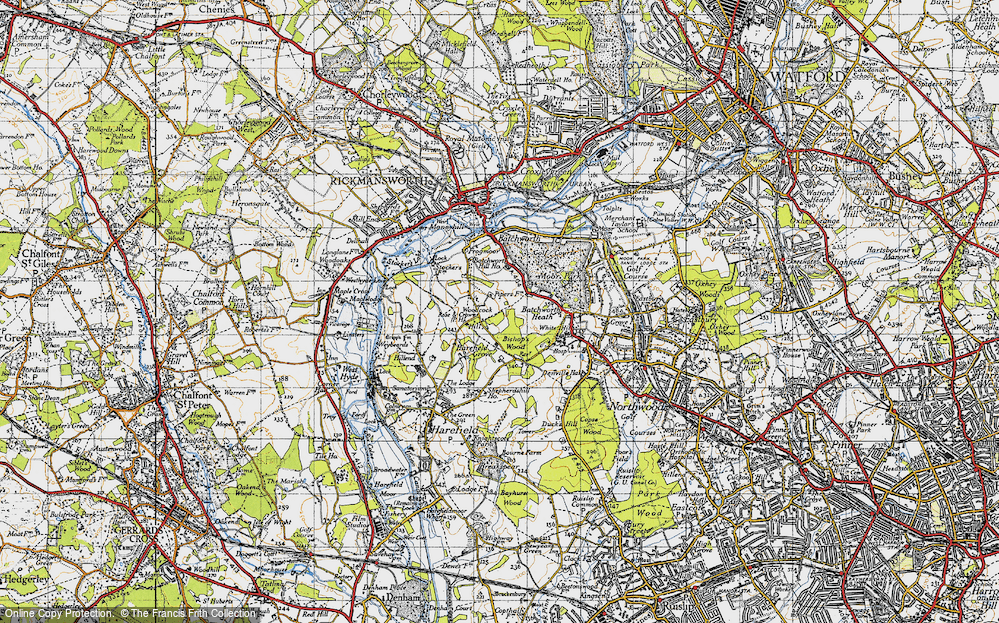 Old Map of Woodcock Hill, 1945 in 1945