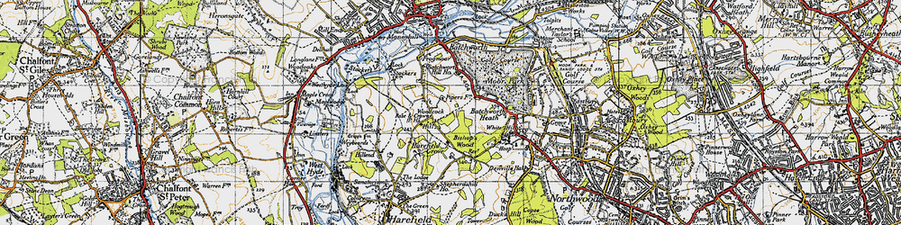 Old map of Woodcock Hill in 1945