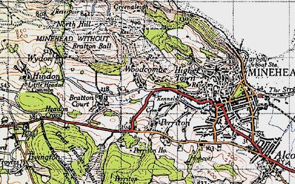 Old map of Woodcombe in 1946
