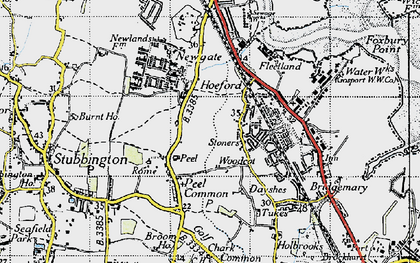 Old map of Woodcot in 1945