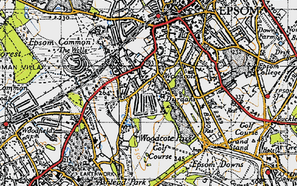 Old map of Woodcote in 1945
