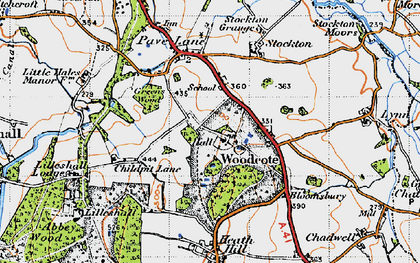 Old map of Woodcote in 1946