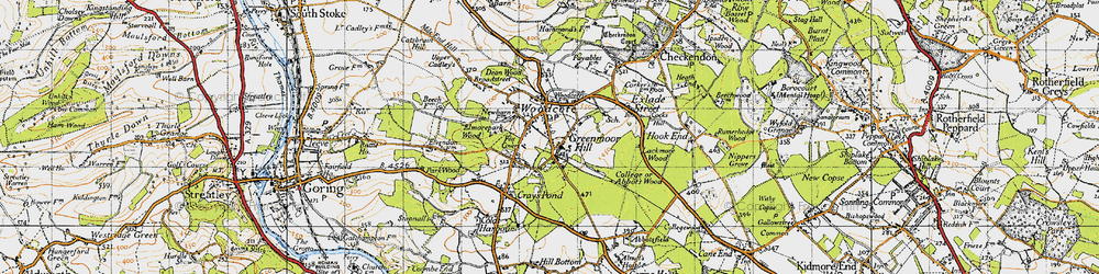Old map of Woodcote in 1947