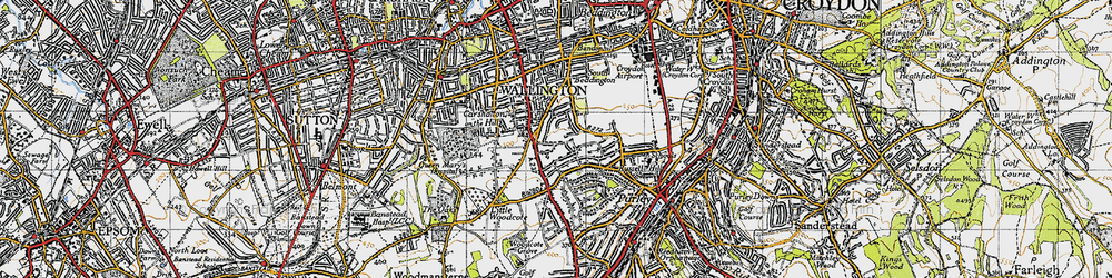Old map of Woodcote Green in 1945