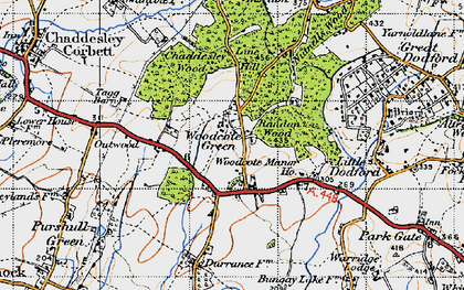 Old map of Woodcote Manor Ho in 1947
