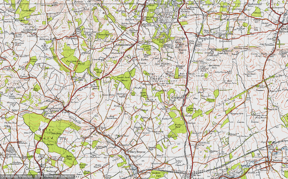 Old Map of Woodcott, 1945 in 1945